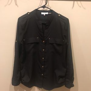 Calvin Klein Black Long Sleeve Button Down Sz S